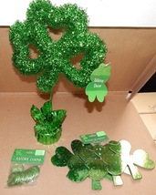 "St.Patricks Day Decor Shamrock 16 ""x 10"" 1 pk Lucky Coins 4pc 6"" Clovers... - $13.49"