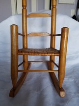 Vintage Wood doll Rocking Chair with Woven Seat - $25.00