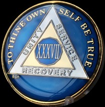 37 Year Midnight Blue AA Medallion Alcoholics Anonymous Chip Gold Tri-Pl... - $25.99