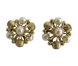 Vintage Coro Gold Tone Bead & Faux Pearl Earring Clips - $16.00