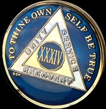 34 Year Midnight Blue AA Medallion Alcoholics Anonymous Chip Gold Tri-Pl... - $25.99