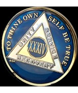 34 Year Midnight Blue AA Medallion Alcoholics Anonymous Chip Gold Tri-Pl... - £19.05 GBP