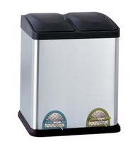 Recycle Bin Container Trash Can Garbage Organize Stainless Steel 30 lite... - $73.20
