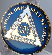24 Year Midnight Blue AA Medallion Alcoholics Anonymous Chip Gold Tri-Pl... - $25.99