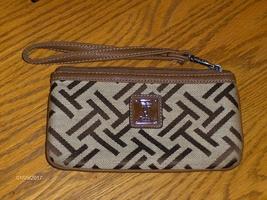 Tignanello Wristlet Brown Canvas Signature Logo Design Clutch Bag - $14.00