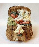 Bunny Rabbits Family Paperweight Figurine Carrots Picnic Basket Painted ... - $22.00