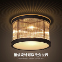 1920s Essex Crystal Rod Flush Mount Light Ceiling Lamp Home Lighting Fixture  - $433.27