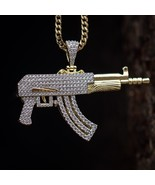 Iced Out Men's  1.6 ct Lab Simulated Diamond AK- 47 Draco Gold Chain Pen... - £20.71 GBP