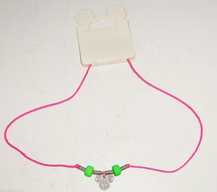 Disney Mickey Mouse Head Necklace Lobster Clasp Hot Pink Cord Theme Park... - $16.95