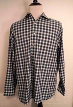 Michael Kors Mens Blue & White Checks L/S Non Iron Shirt Men's 17 34/35 - $32.54