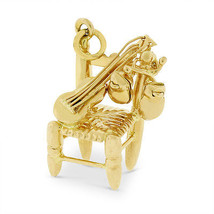 Vintage Chair with Guitar and Drums Charm In Solid 18k Yellow Gold - $291.72