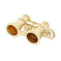 Vintage Explorers Binoculars Charm In Solid 14k Yellow Gold - $291.72