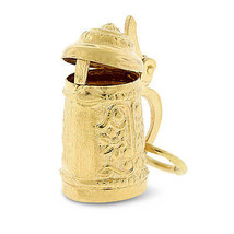 Vintage 18k Solid Gold German Beer Stein Pitcher Charm With Opening Lid - $291.72