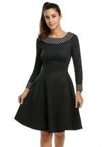 Women Polka Dot Boat Neck Long Sleeve Fit And Flare Dress - $33.95