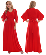 Ladies Kaftan Style Long Evening Party Dress Red By MontyQ UK - $35.00