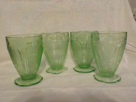"Four ""jeanette Glass Co"" Cherry Blossom Green T... - $45.00"