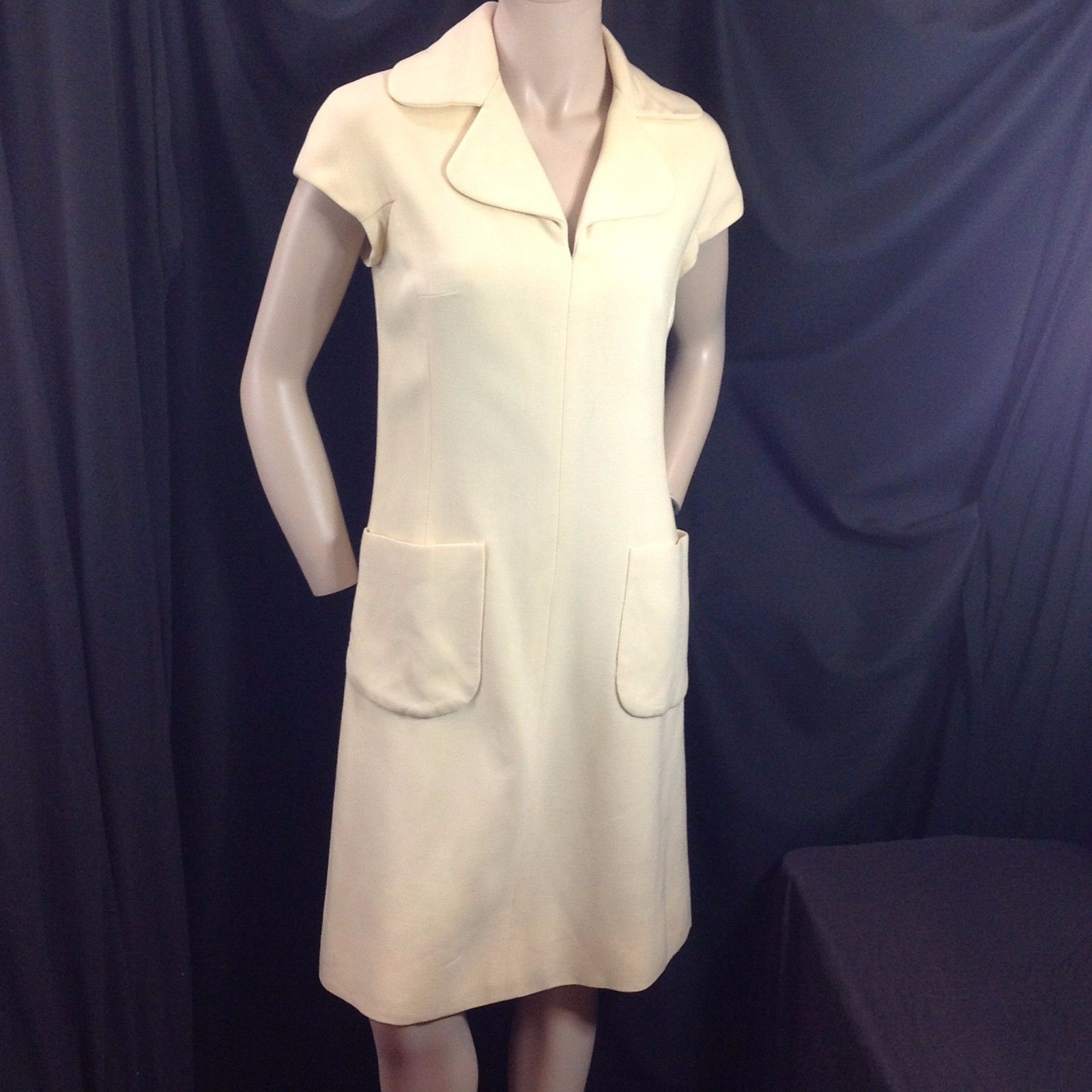 Vtg Ivory Wool Mod Sheath Dress Shannon Rodgers Jerry Silverman ILGWU M