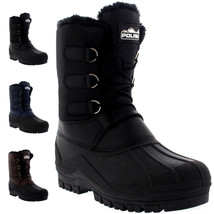Polar Mens Lace Up Walking Muck Faux Fur Short Hiking Snow Duck Thermal ... - $69.99+