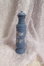 AVON blue botle w/stopper, white angels, tree & lady design - $6.80