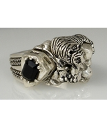White Bengal Tiger sterling silver Onyx ring  - $119.00