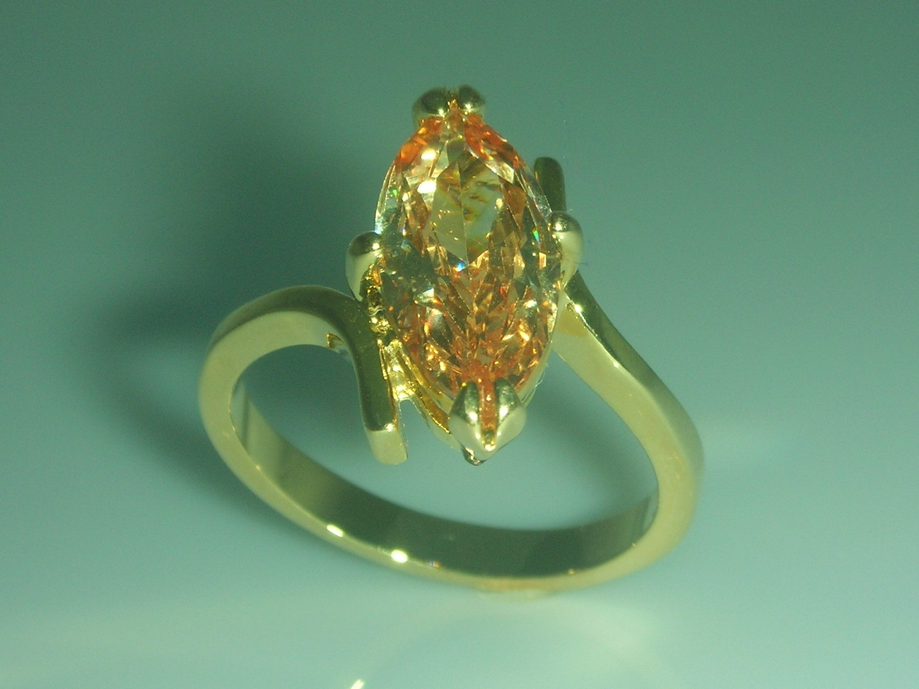 Marquise Champagne Cubic Zirconia Solitaire Ladies Fashion Ring Size 8