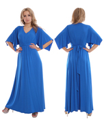 Ladies Kaftan Style Long Evening Party Dress Blue By MontyQ UK - $35.00