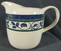 Pfaltzgraff Orleans Creamer Pitcher Stoneware 12oz Blue & Green Design Thailand  - $9.95