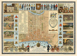 Early Philadelphia Map Fire Department Fighters Gift Wall Poster Vintage History - $12.87+