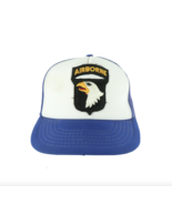 Vintage 80s 101st Airborne Division US Army Patch Trucker Hat Snapback Blue - £27.78 GBP