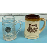SET OF 2 Knott's Berry Farm Vintage Glasses Cups Mugs Cermaic and Glass ... - $22.22