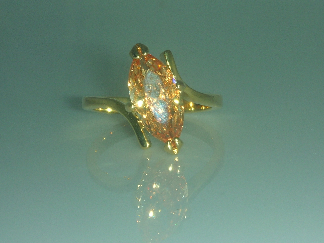 Marquise Champagne Cubic Zirconia Solitaire Ladies Fashion Ring Size 5