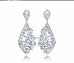 Bridal Chandelier Earrings Cubic Zirconia Drop Dangle Earrings Crystal E... - $24.58