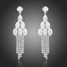 Bridal Chandelier Earrings Cubic Zirconia Drop Dangle Earrings Tassle Ea... - $24.58