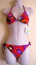 Nwt Split Fashion 2 PC Triangle Swimwear Bikini Swimsuit Sz M Medium Red... - $27.67