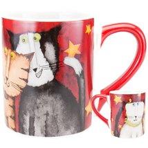 Animal World Cats Hanging Under Stars Red Coffee Mug - $16.68