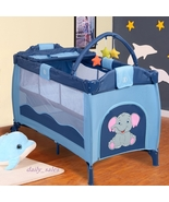 Travel Baby Cot Portable Playpen Infant Boy Basinet Blue Storage Easy - $85.00