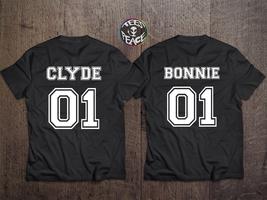 Bonnie Clyde couple shirts, Bonnie 01 Clyde 01, Bonnie Clyde shirts, Bon... - $19.68 CAD