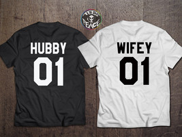 Hubby Wifey shirts, Honeymoon Shirts, Hubby and Wifey tshirts, Couples M... - $19.68 CAD