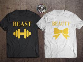 Beauty and the Beast, Beauty Beast Couples Shirts Set, Beauty Beast shir... - $19.68 CAD