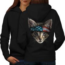 Cat USA Sweatshirt Hoody Flag Head Animal Women Hoodie Back - $21.99+