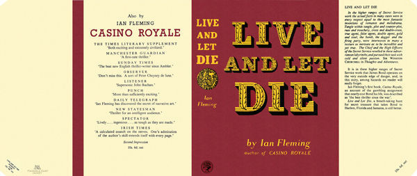 Fleming-facsimile jacket for 1st UK ed. of LIVE AND LET DIE