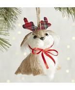 Pier 1 Sisal Dog Christmas Ornament Wearing Bowtie Antlers Park Avenue P... - $7.95