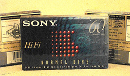 Sony Hi Fi 60 Min Type I Normal Bias Cassettes (3), NEW, Sealed - $1.85