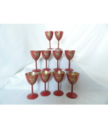 Decorative Hand Painted Red Wooden Cocktail Liqueurs W/ Gold Roosters Se... - $45.00