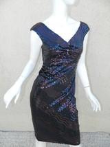 DAVID MEISTER  Dress Navy Blue Purple Iridescent  Sequins  Beaded Sheath  Sz 2 - $140.01