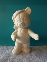 Teddy in Santa Hat Ceramic Bisque Ready-to-Paint, Unpainted, You Paint - C - $4.00