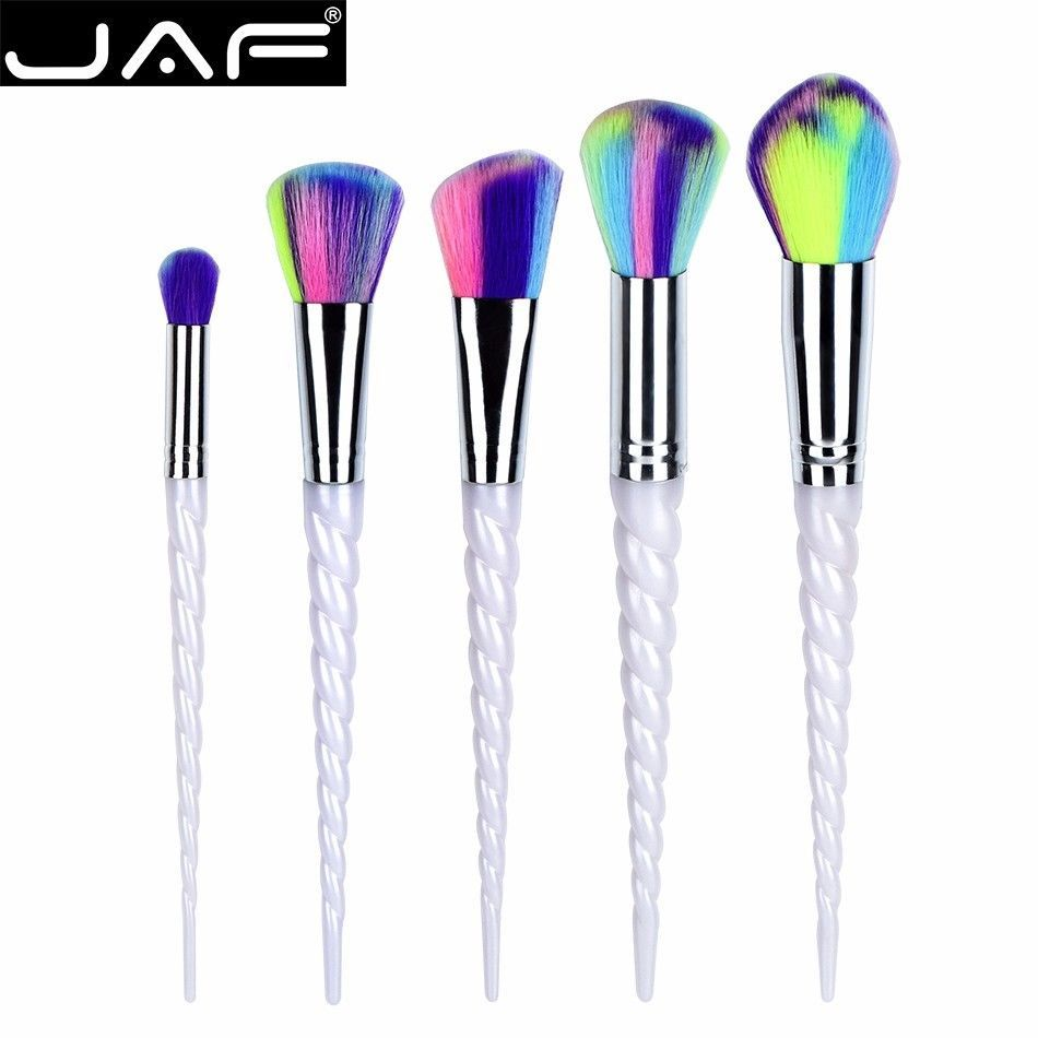 JAF 5pcs Unicorn Makeup Brush Set Colorful Synthetic Hair Spiral Plastic Handle