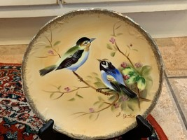 VINTAGE ENESCO PLATE SIGNED YOKOE HAND PAINTED BLUE BIRDS FORAL BRANCH J... - $22.46