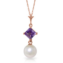 "14K Solid Rose gold fine Necklace 16-24"" w genuine Amethyst & pearl - $113.81+"