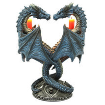 Altar Drake Double Blue Dragon Candle Holder Stand Sculptural Home Decor - €37,09 EUR